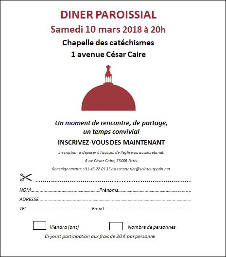 INSCRIPTION DINER PAROISSIAL